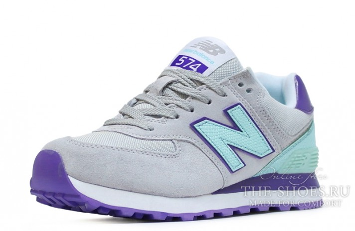 New Balance 574 Grey Mint Violet White серые, фото 2