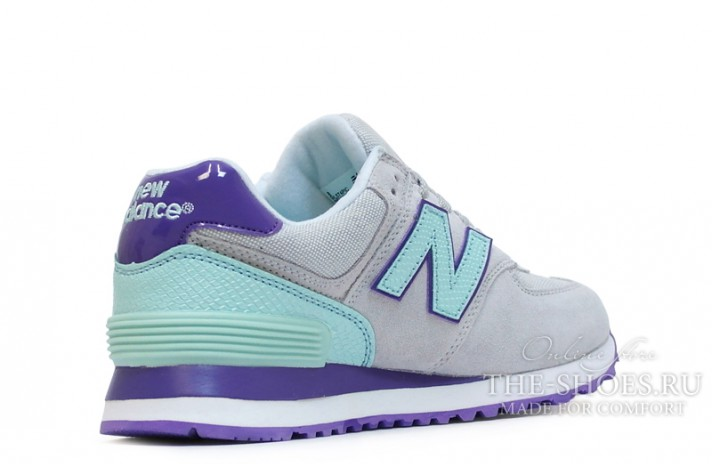New Balance 574 Grey Mint Violet White серые, фото 3