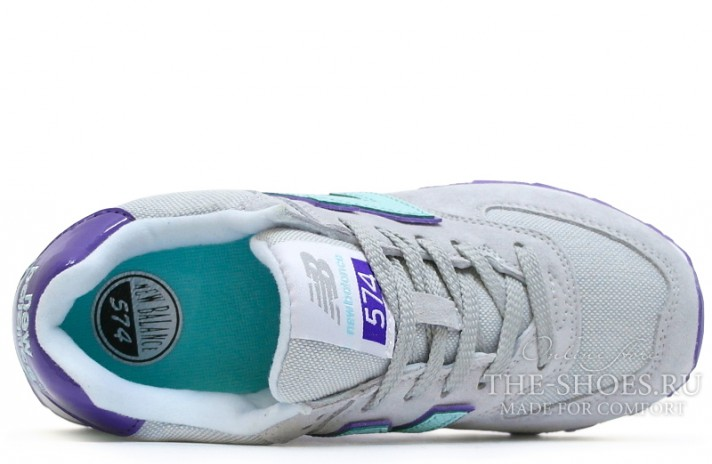 New Balance 574 Grey Mint Violet White серые, фото 4