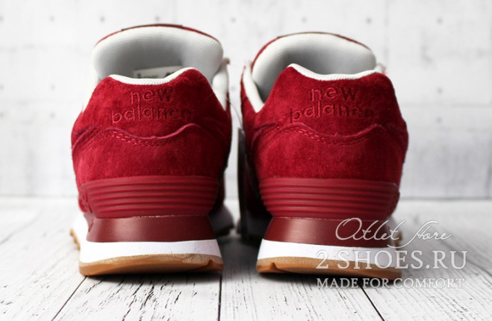 New Balance 574 Red Maroon бордовые, фото 3