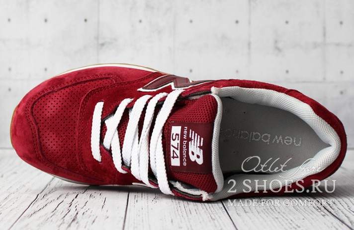 New Balance 574 Red Maroon бордовые, фото 4
