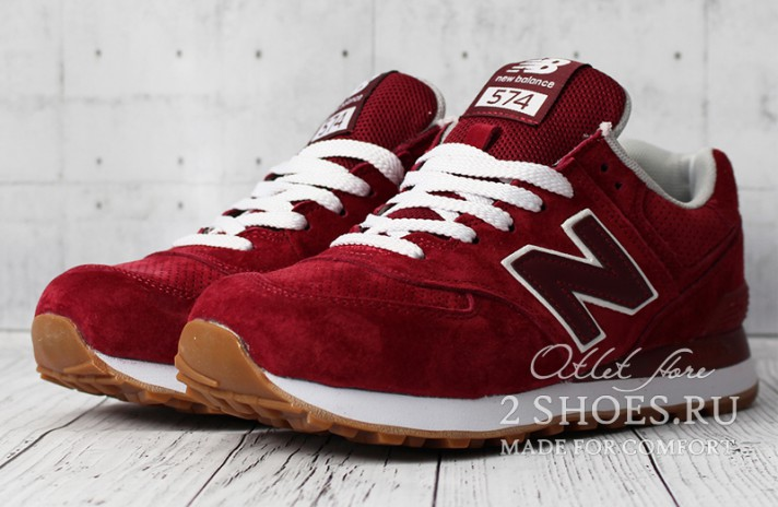 New Balance 574 Red Maroon бордовые, фото 2