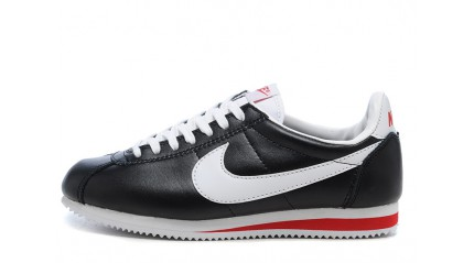Nike Cortez Leather Black White Gym Red