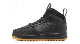 Nike Lunar Force 1 DUCKBOOT Anthracite Black черные кожаные