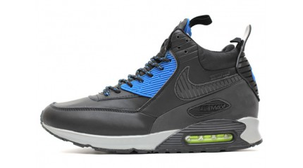 Зимние КРОССОВКИ МУЖСКИЕ<br/> NIKE AIR MAX 90 SNEAKERBOOT BLACK BLUE LEATHER