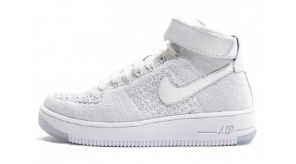 Air Force КРОССОВКИ МУЖСКИЕ<br/> NIKE AIR FORCE MID FLYKNIT PURE WHITE