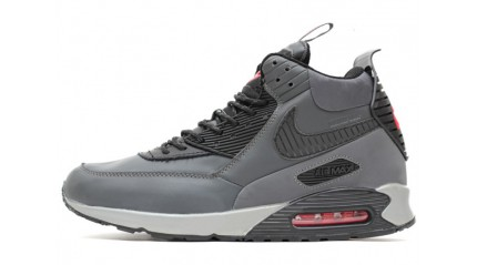 Зимние КРОССОВКИ МУЖСКИЕ<br/> NIKE AIR MAX 90 SNEAKERBOOT GRAY BLACK LEATHER