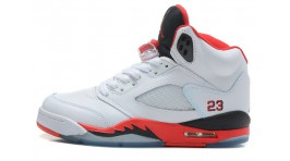 Nike Air Jordan 5 (V) Fire Red White белые кожаные