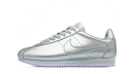 Nike Cortez Metallic Silver Summit Leather серебристые кожаные