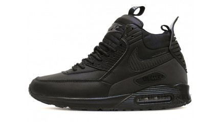 Зимние КРОССОВКИ МУЖСКИЕ<br/> NIKE AIR MAX 90 SNEAKERBOOT BLACK LEATHER