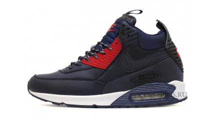 Зимние КРОССОВКИ МУЖСКИЕ<br/> NIKE AIR MAX 90 SNEAKERBOOT BLUE RED LEATHER