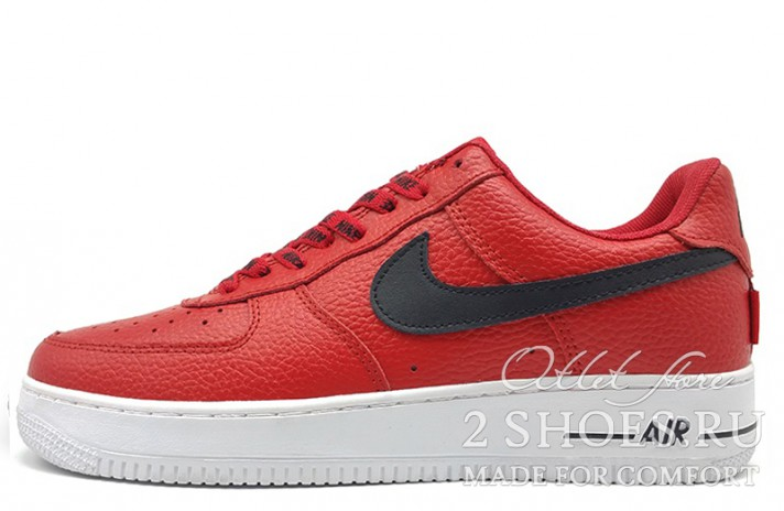 Nike Air Force 1 Low LV8 NBA Pack Red красные кожаные