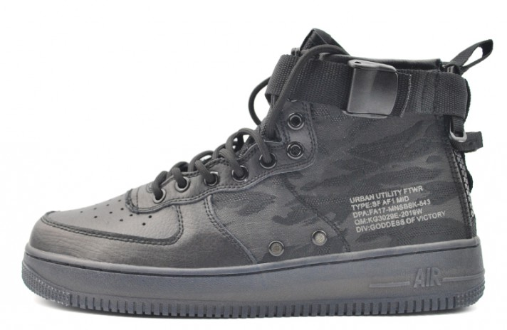 5e10815c2eb9 Nike Air Force Special Field SF 1 Mid Black Tiger Camo черные кожаные