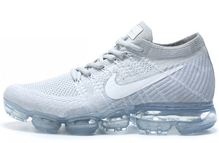 Nike Air VaporMax Flyknit Pure White Platinum белые, фото 1