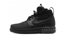 Nike Lunar Force 1 DUCKBOOT 17 Mid Winter Black черные кожаные