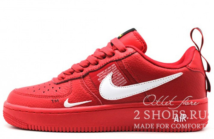 Nike Air Force 1 Low LV8 Utility Red красные кожаные