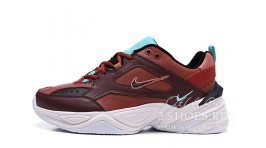 Nike M2K Tekno Mahogany Mink Black Burnt Orange бордовые кожаные