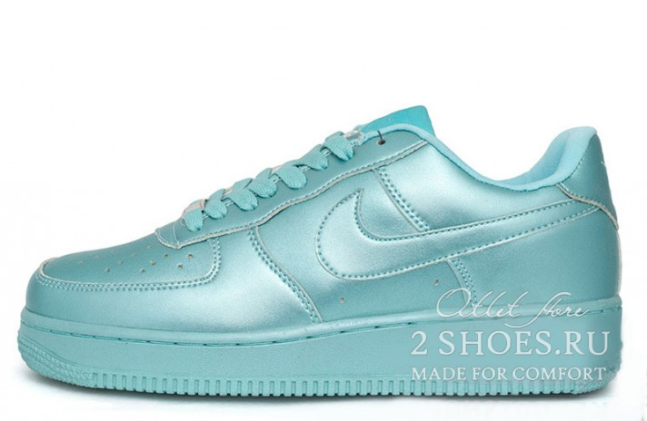 Nike Air Force 1 Low Shiny Light Blue голубые кожаные