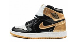 Nike Air Jordan 1 Mid Black Metallic Gold черные кожаные