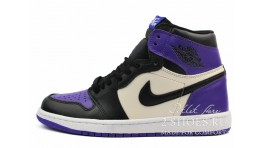 Nike Air Jordan 1 Mid Court Purple черные кожаные