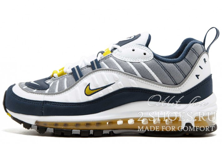Nike Air Max 98 Gundam Tour Yellow Midnight Navy белые синие, фото 1