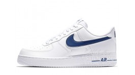 Nike Air Force 1 Low White Blue белые кожаные