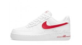 Nike Air Force 1 Low White Red белые кожаные