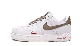 Nike Air Force 1 Low ID White Brown Red белые кожаные