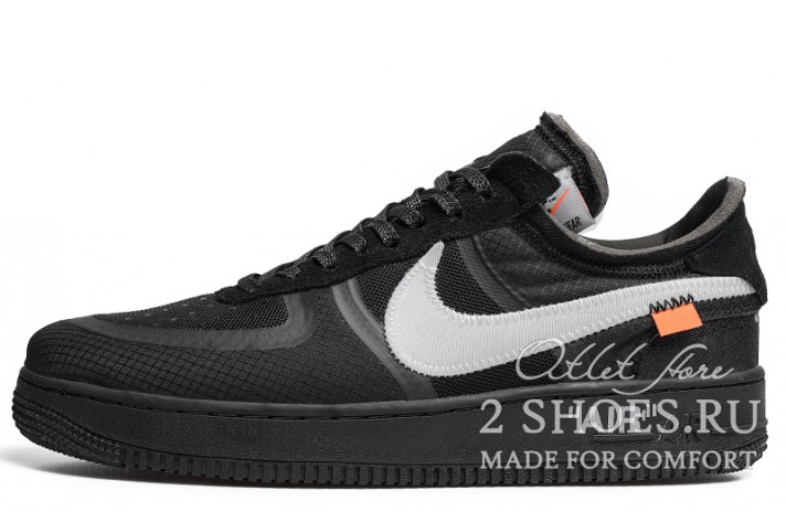 Nike Air Force 1 Low Off White Cone Black черные, фото 1