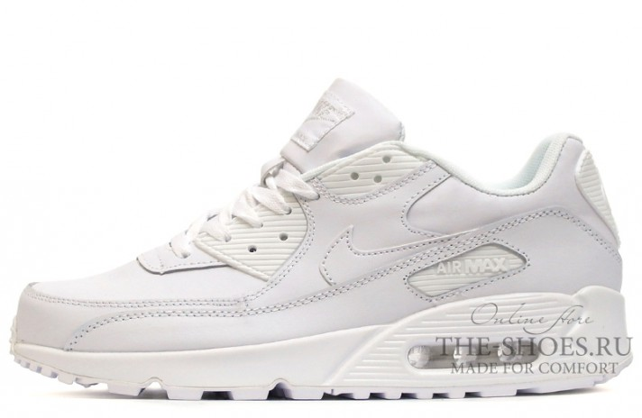 Nike Air Max 90 Leather Pure White белые кожаные, фото 1