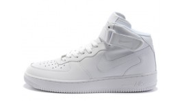 Nike Air Force 1 Mid Pure White Leather белые кожаные