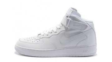 Кроссовки Женские Nike Air Force Mid Pure White Leather