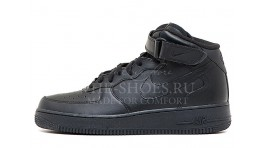 Nike Air Force 1 Mid Total Black Leather черные кожаные