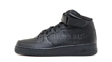 Кроссовки Мужские Nike Air Force Mid Total Black Leather