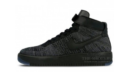 Nike Air Force 1 Mid Flyknit Dark Grey Black