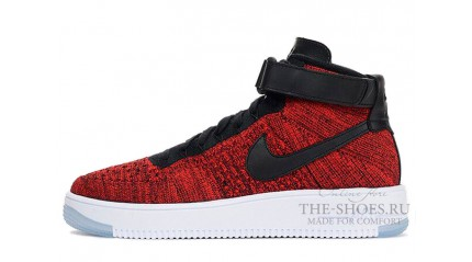 Nike Air Force 1 Mid Flyknit University Red Black