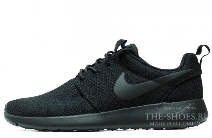 Nike Roshe Run Black Full черные, фото 1