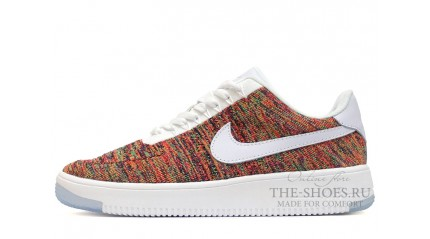 Nike Air Force 1 Low Flyknit White Bright Crimson Court