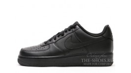 Nike Air Force 1 Low Total Black Leather черные кожаные