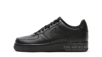 Кроссовки Женские Nike Air Force Low Total Black Leather