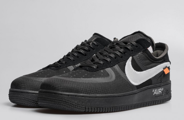 Nike Air Force 1 Low Off White Cone Black черные, фото 2