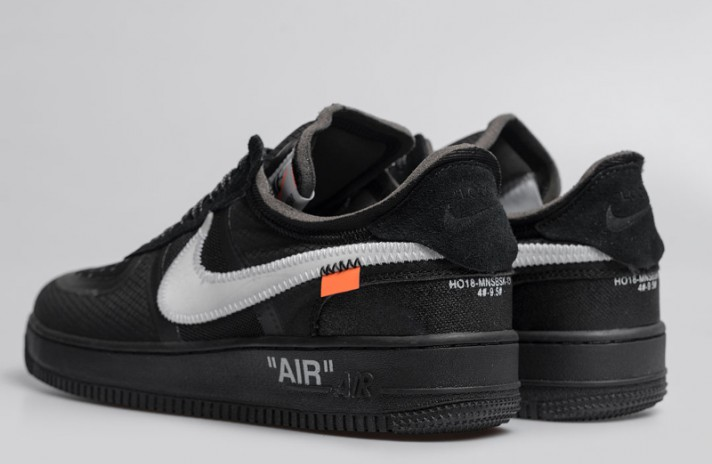 Nike Air Force 1 Low Off White Cone Black черные, фото 3
