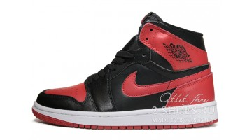 Кроссовки женские Nike Air Jordan 1 Bred Banned Black Red