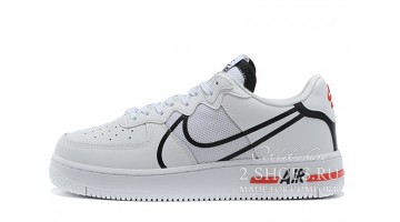 Кроссовки Мужские Nike Air Force 1 React White Black University Red