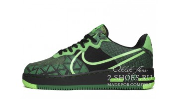 Кроссовки Мужские Nike Air Force 1 React Naija Black Green Strike