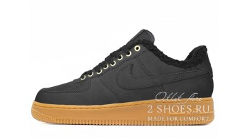 Кроссовки Мужские Nike Air Force 1 Winter Black Yellow Nubuck