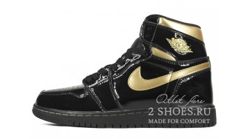 Кроссовки женские Nike Air Jordan 1 High Black Metallic Gold