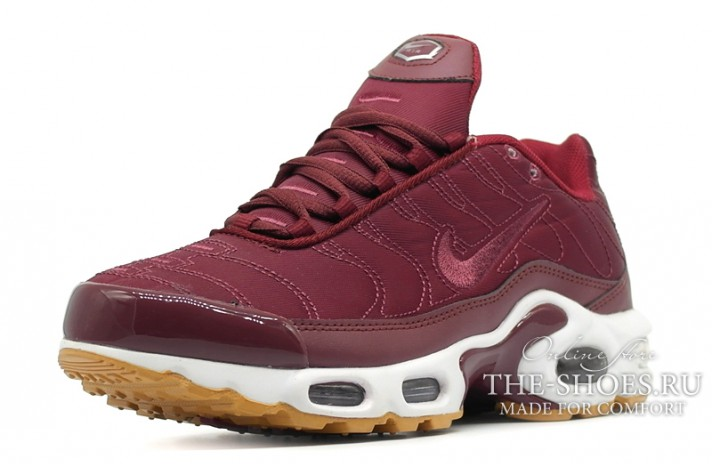 Nike Air Max TN Plus Satin Pack Night Maroon Noble Red бордовые, фото 2