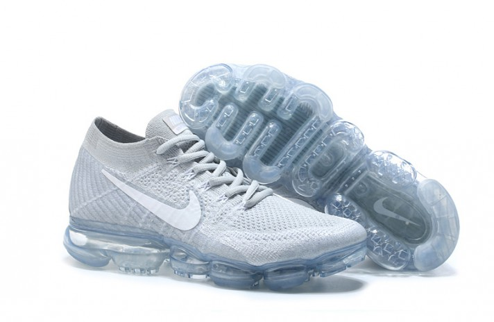 Nike Air VaporMax Flyknit Pure White Platinum белые, фото 3