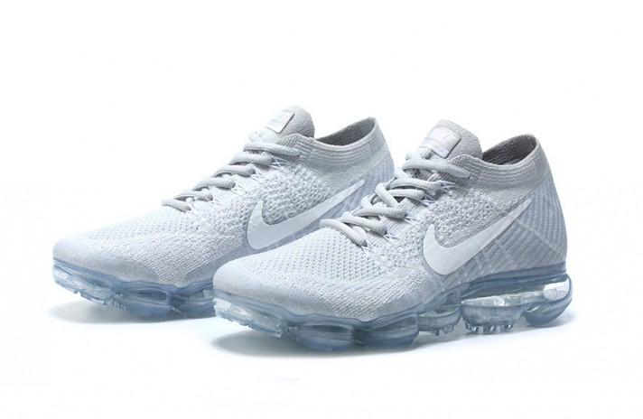 Nike Air VaporMax Flyknit Pure White Platinum белые, фото 2